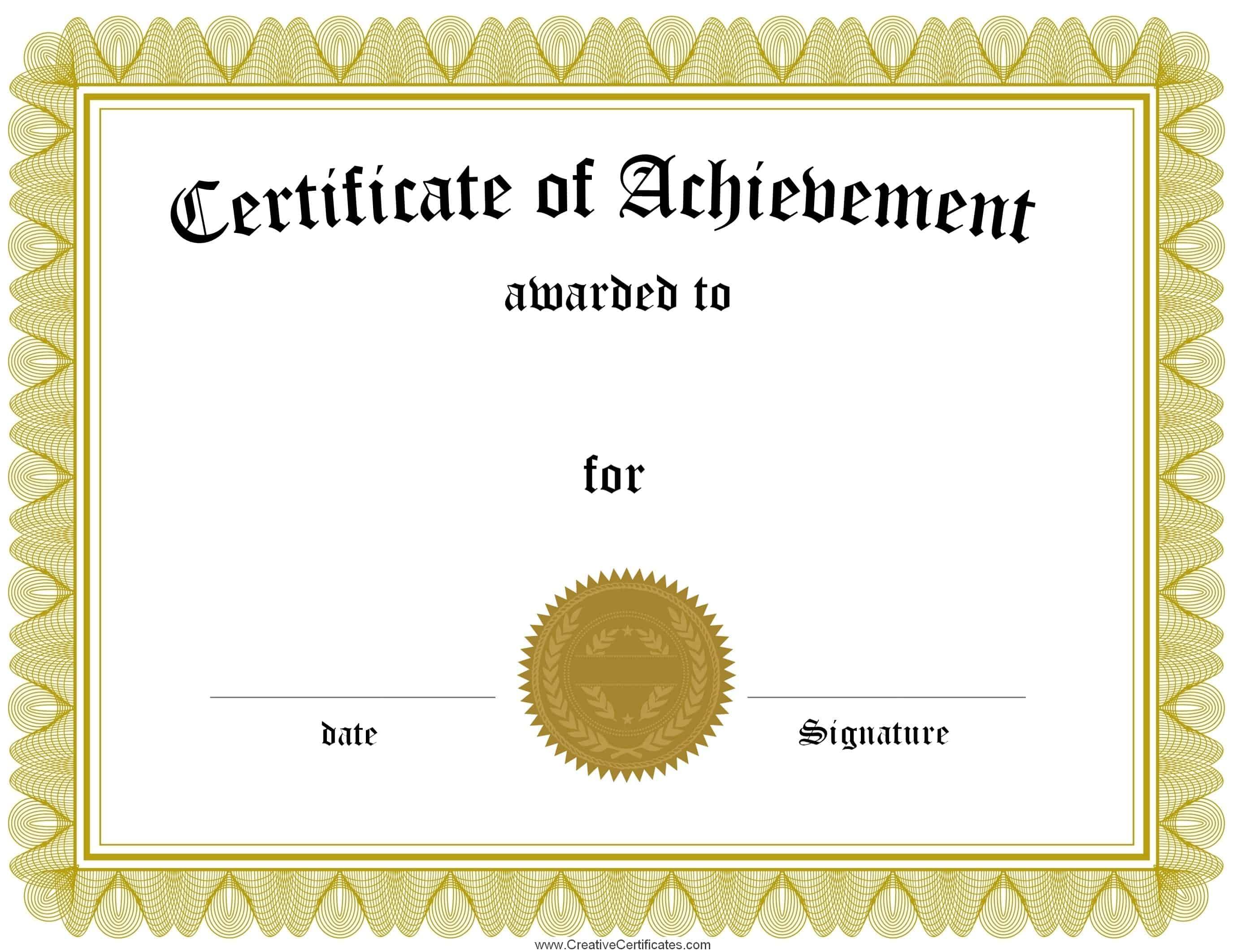 001 Free Printable Certificates Of Achievement Certificate Template - Free Printable Certificates Of Achievement