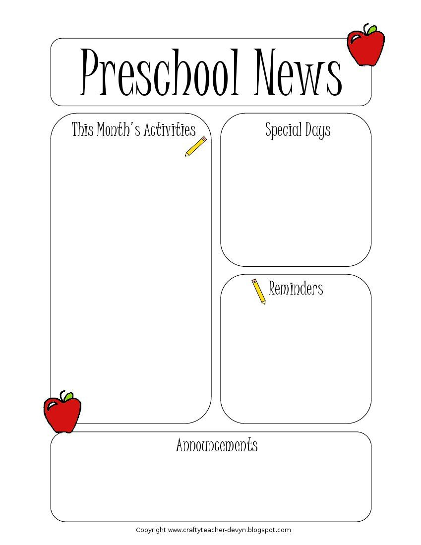 002 Free Newsletter Templates For Teachers Template ~ Ulyssesroom - Free Printable Preschool Newsletter Templates