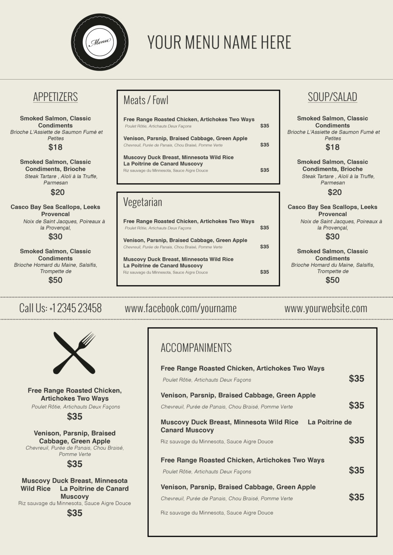 004 Friench Food Menu Template In Ms Word Ideas ~ Ulyssesroom - Menu Template Free Printable Word