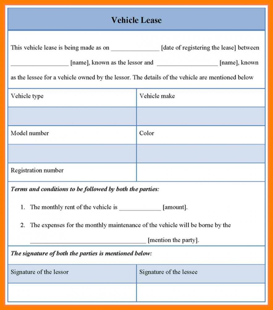 004 Template Ideas Car Lease Agreement Vehicle Leasing ~ Ulyssesroom - Free Printable Vehicle Lease Agreement