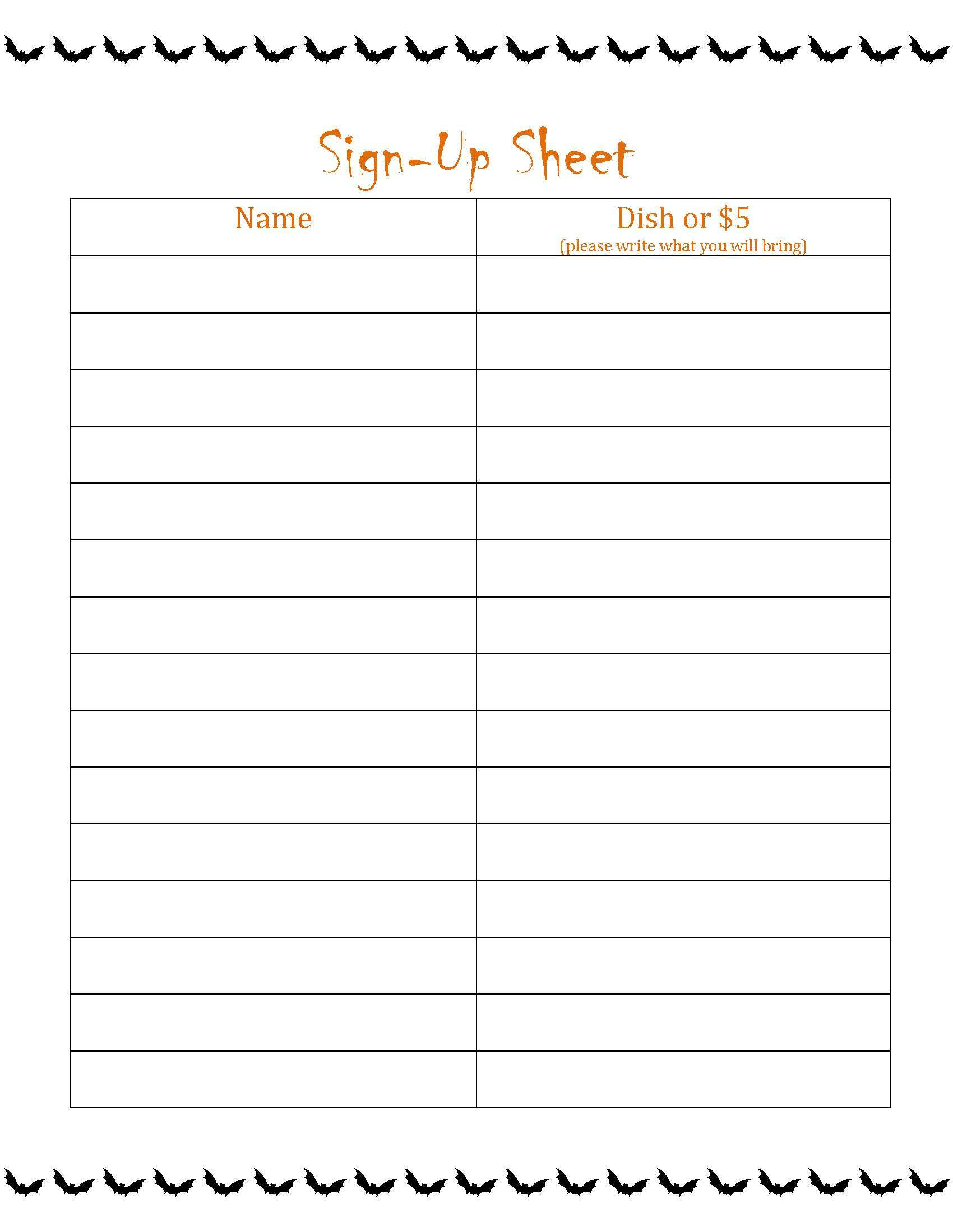 004 Template Ideas Potluck Invitation Free Monthly Sign Up Sheet - Free Printable Sign Up Sheets For Potlucks