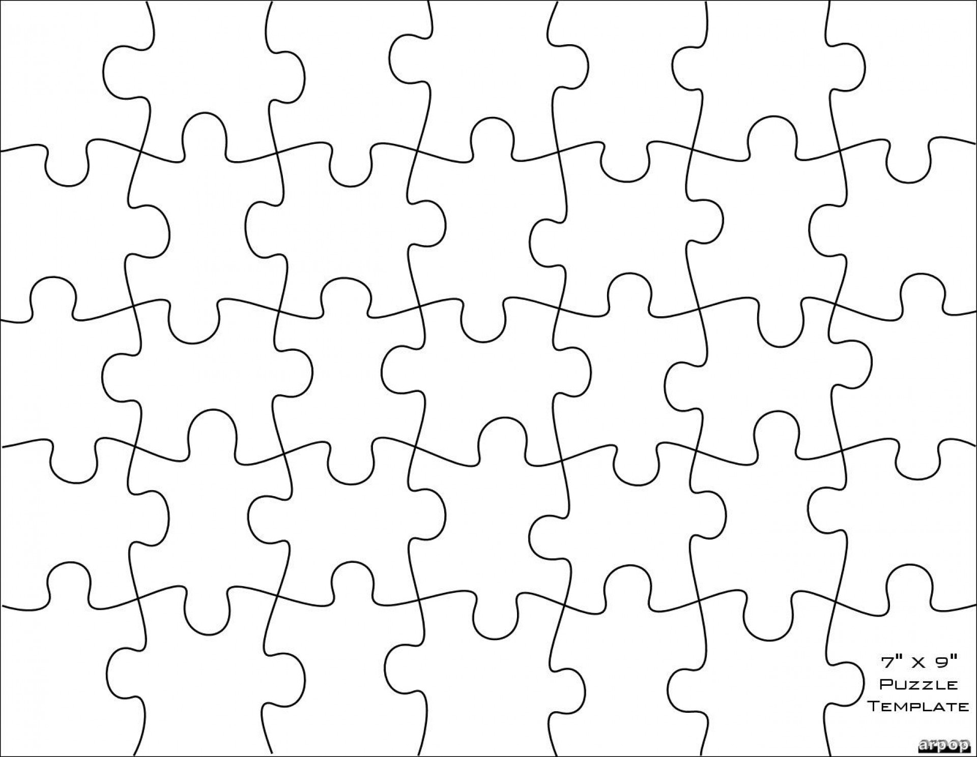 006 Jigsaw Puzzle Blank Template Twenty Pieces Simple Jig Saw - Jigsaw Puzzle Maker Free Printable