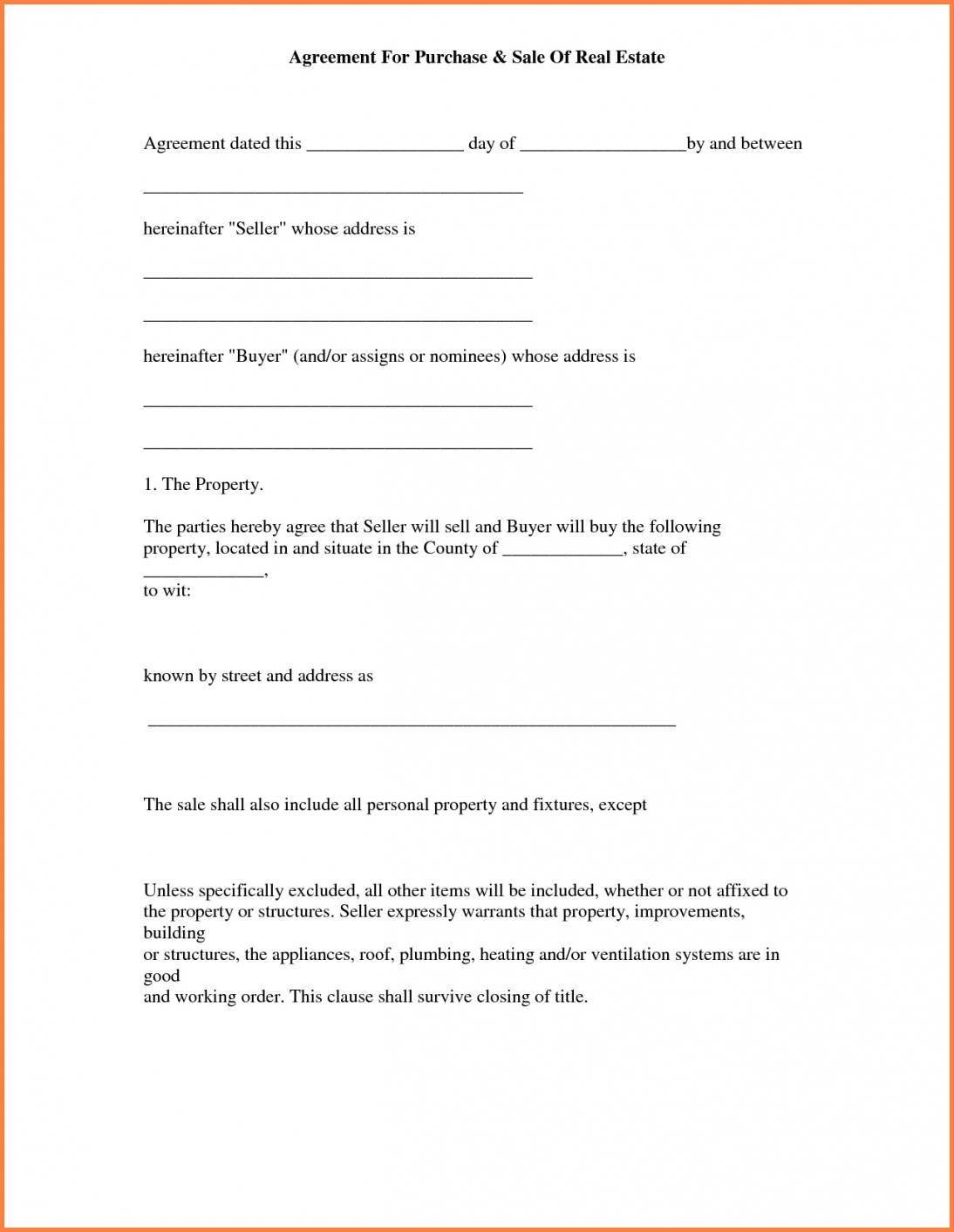 006 Real Estate Purchase Agreement Template Ideas Simple Ideal Free - Free Printable Real Estate Purchase Agreement