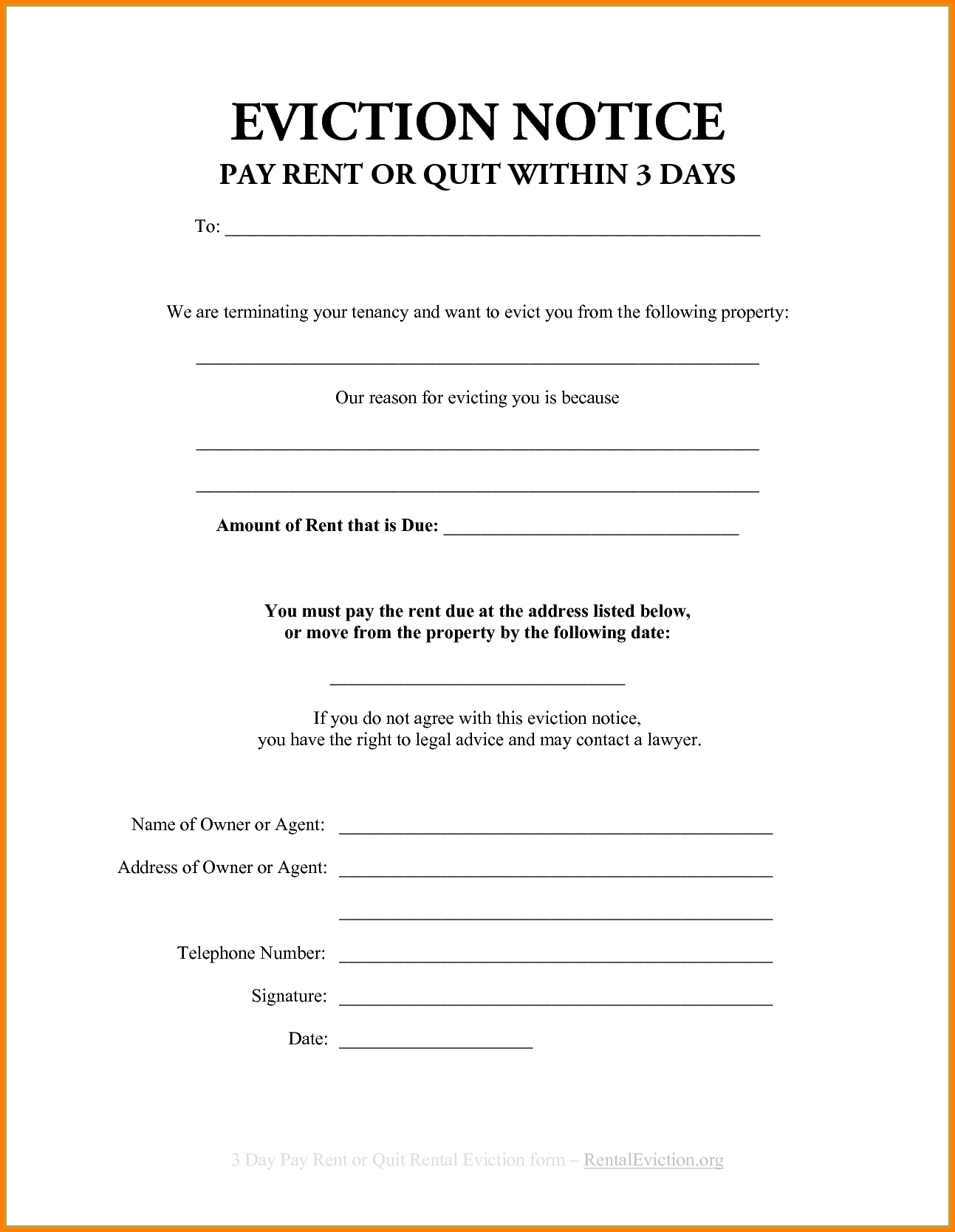 007 Free Printable Eviction Notice Template Blank Form ~ Ulyssesroom - Free Printable Eviction Notice