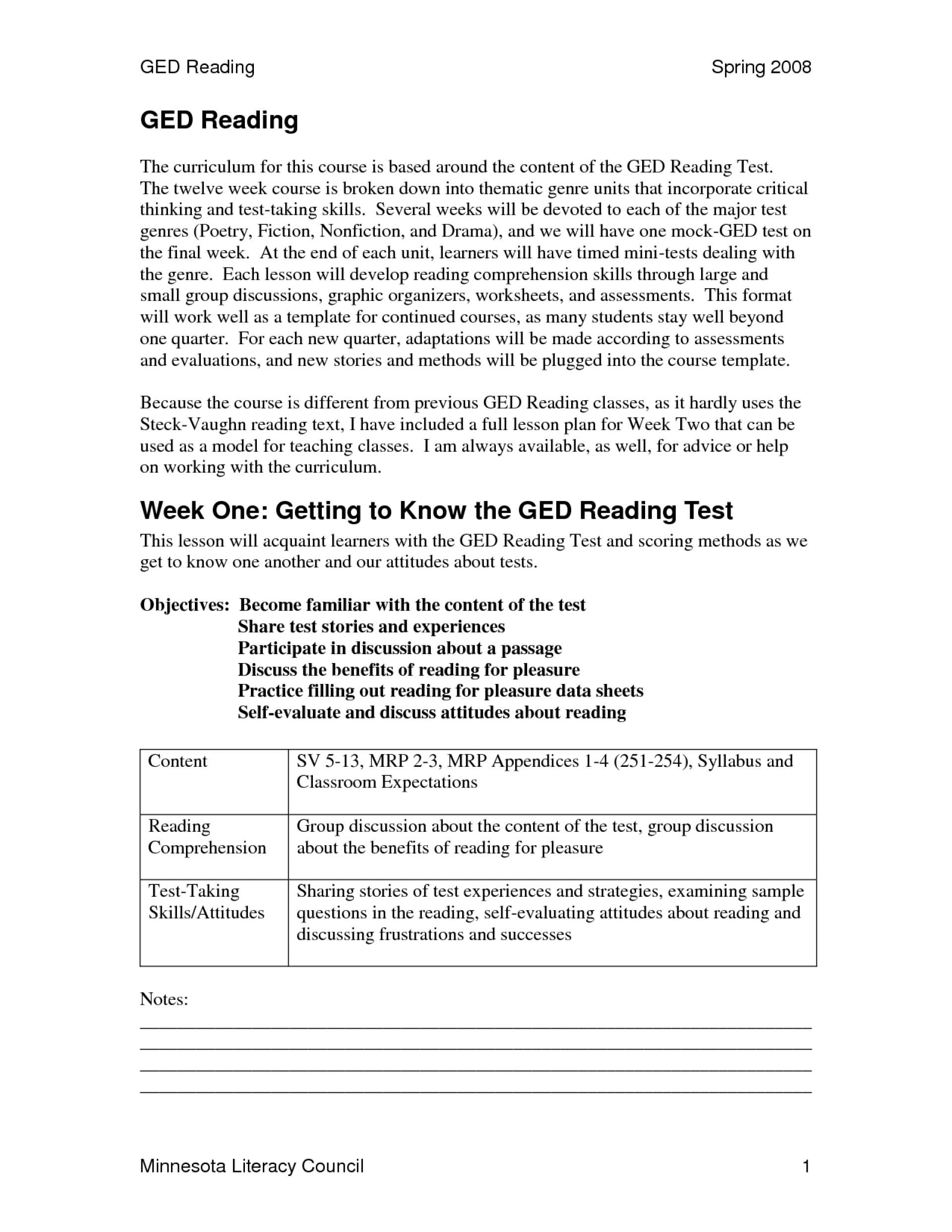 007 Ged Essay Samples Example Practice Test Printable Worksheets - Ged Reading Practice Test Free Printable