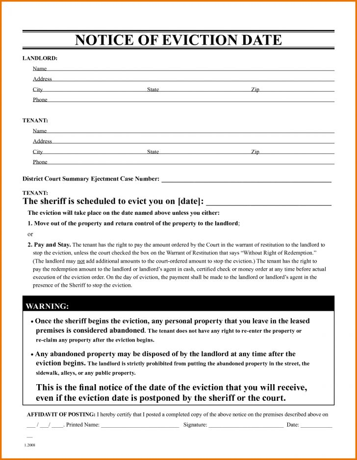 Free Printable Eviction Notice Ohio