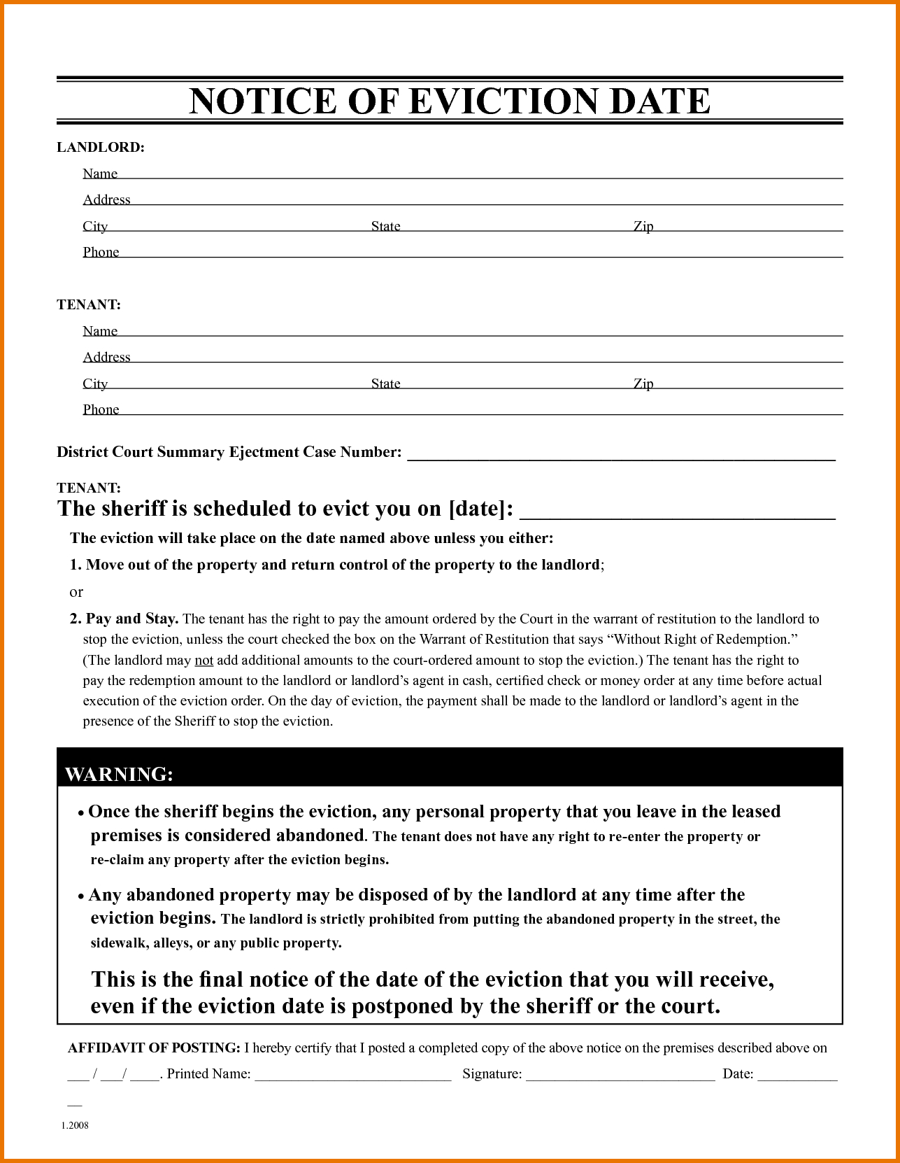 009 Free Eviction Notice Templates Template ~ Ulyssesroom - Free Printable Eviction Notice Ohio
