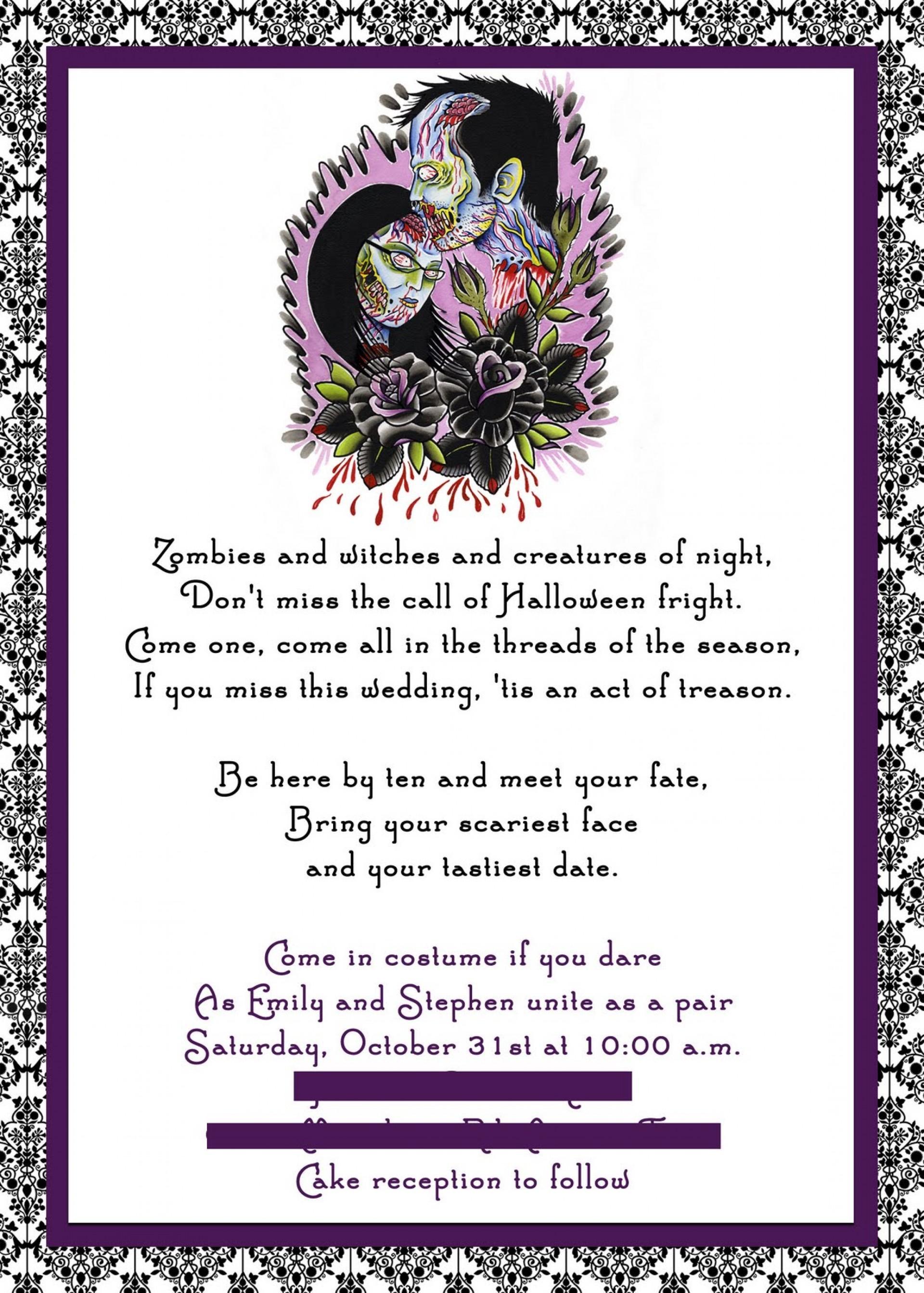009 Template Ideas Free Halloween Invite ~ Ulyssesroom - Free Printable Halloween Wedding Invitations