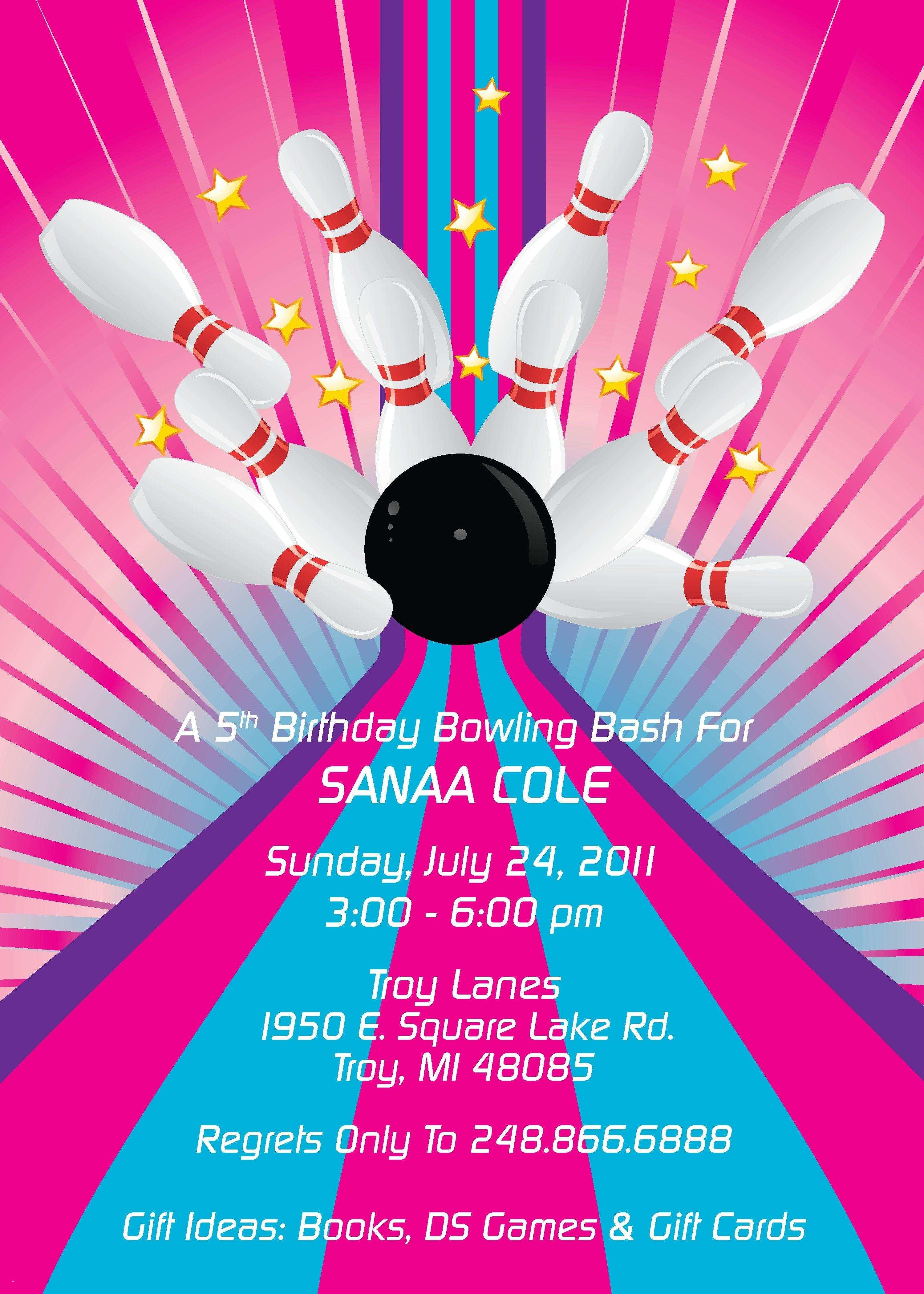 010 Template Ideas Bowling Birthday Party Invitation Free ~ Ulyssesroom - Free Printable Bowling Birthday Party Invitations