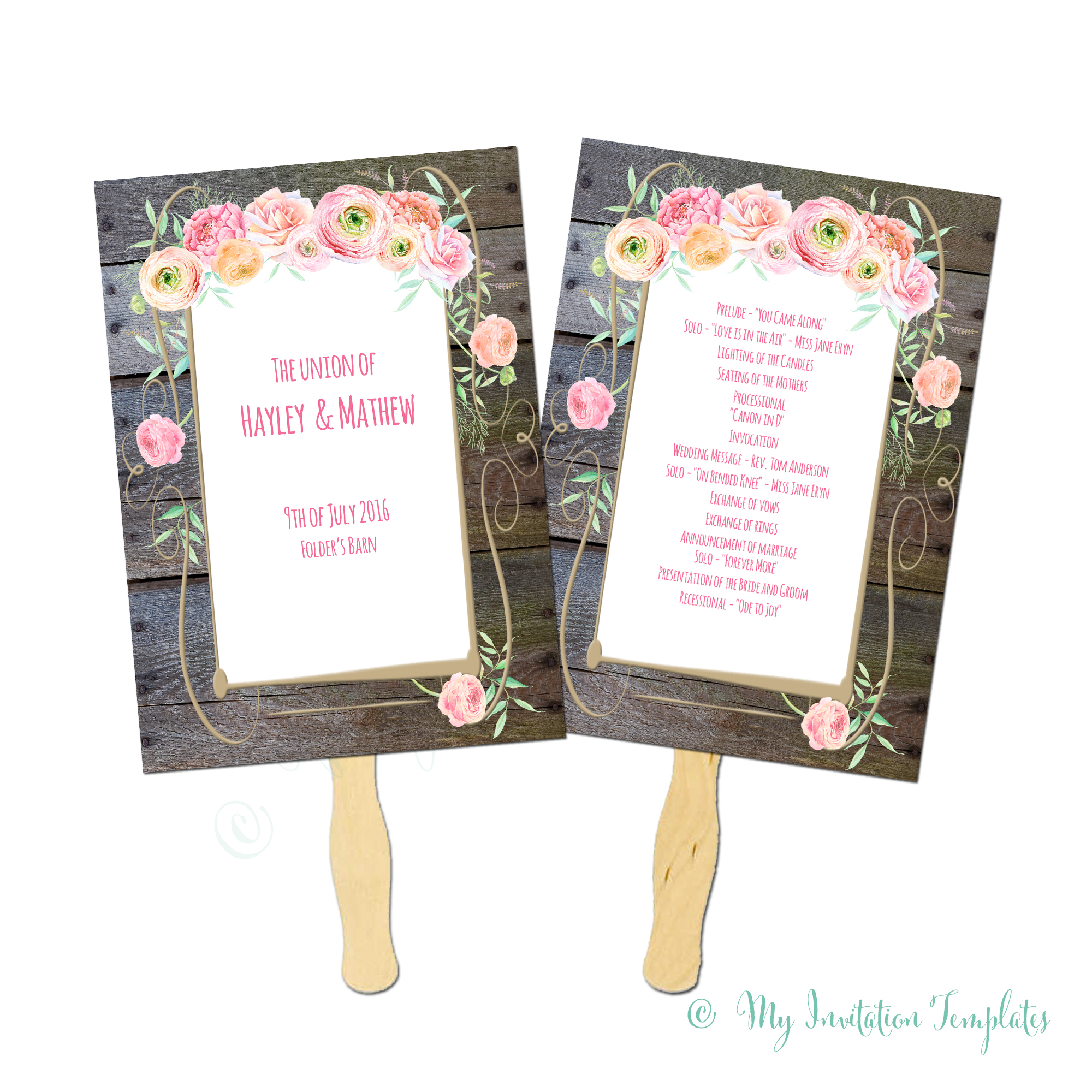 010 Template Ideas Grand Rustic Wood Background Country Flower - Free Printable Wedding Fan Templates