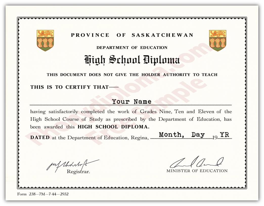 011 Template Ideas High School Diploma Saskatchewan Fake Secondary - Free Printable High School Diploma Templates