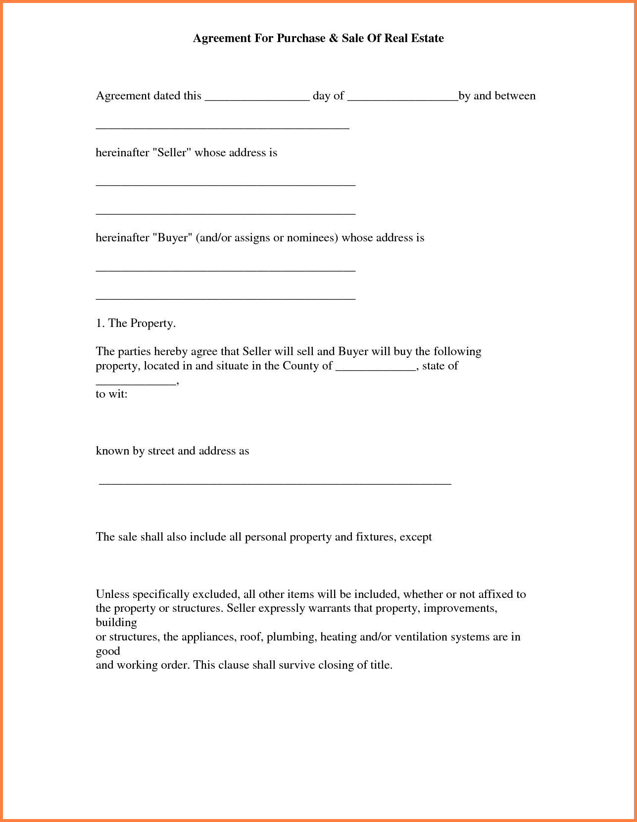 013 Simple Land Purchase Agreement Form Free Printable Real Estate - Free Printable Purchase Agreement Template