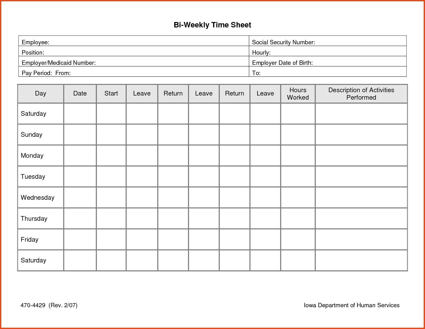 013 Time Sheet Templates Free Daily Timesheet Template Printable - Free Printable Weekly Time Sheets