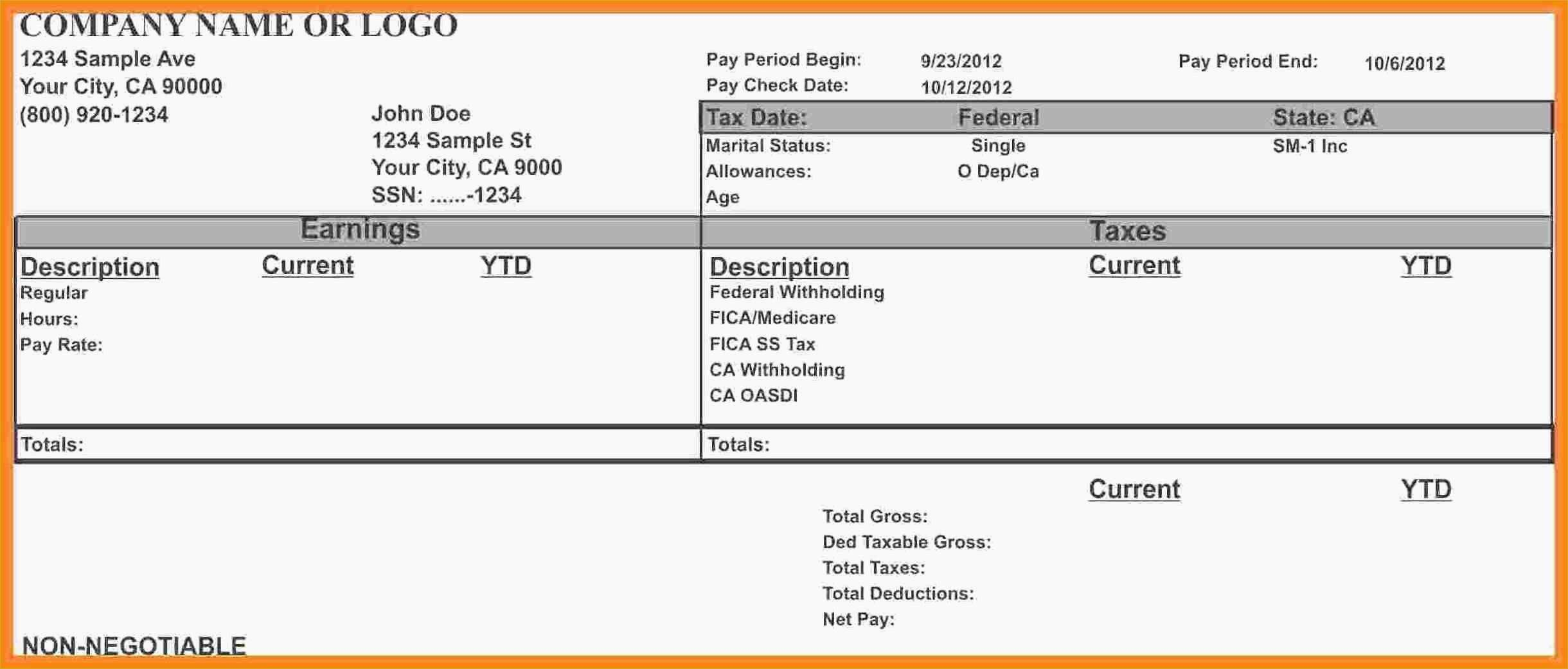 015 Free Pay Stub Template Download Check Printables Printable Stubs - Printable Pay Stub Template Free