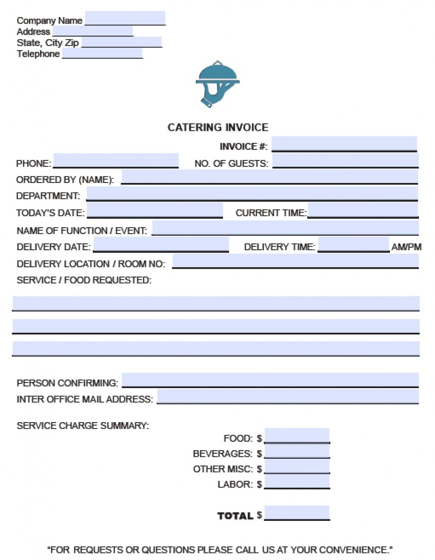 015 Free Service Invoice Template Ideas Catering Invoce Pdf - Free Printable Catering Invoice Template