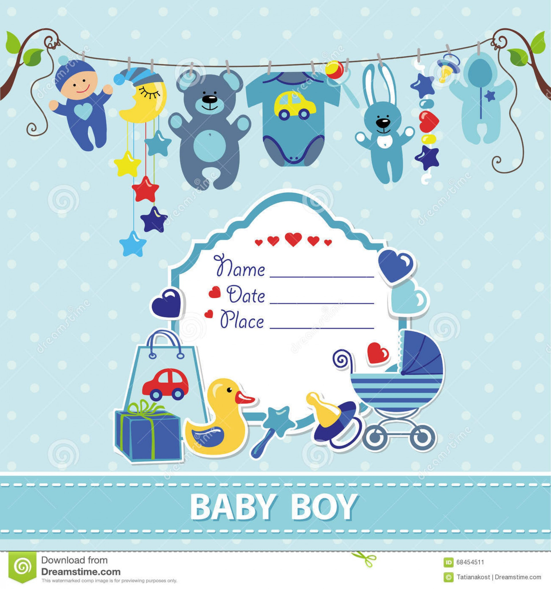 015 New Born Baby Boy Card Shower Invitation Template Flat Elements - Baby Shower Cards Online Free Printable