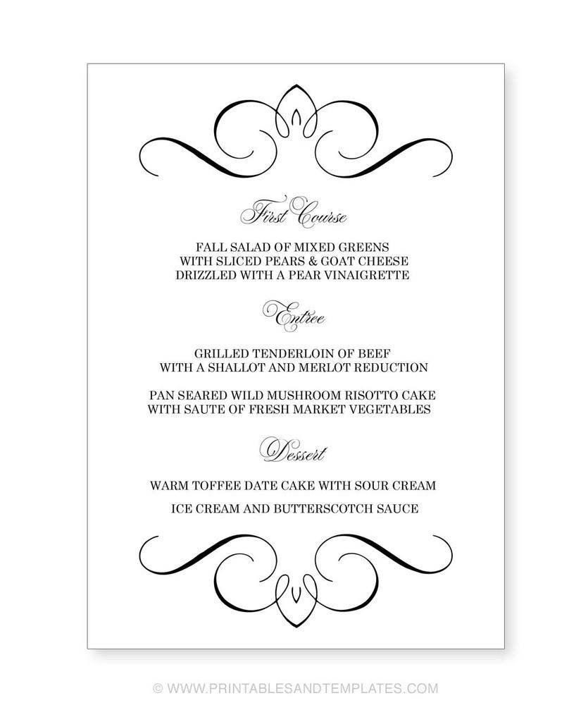 018 Menu Template Free Printable Wedding Templates Ideas For - Free Printable Menu