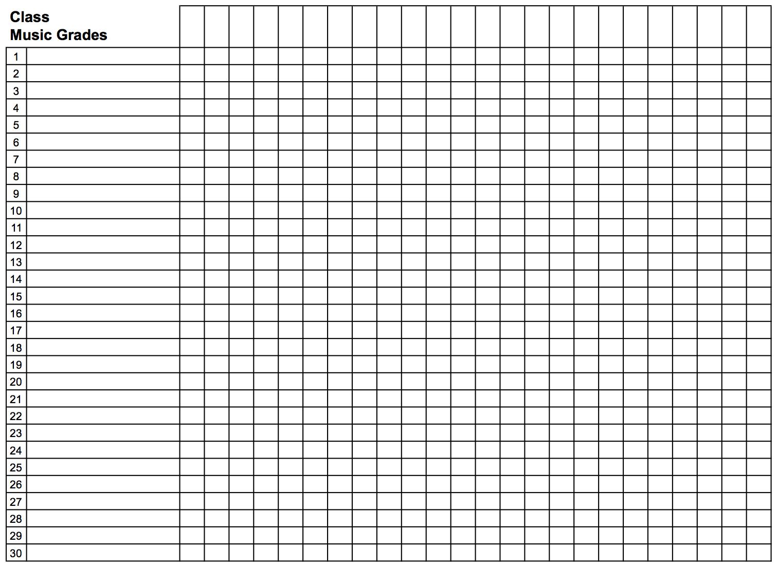018 Template Ideas Gradebook Grid Landscape Teacher Grade Book - Free Printable Gradebook
