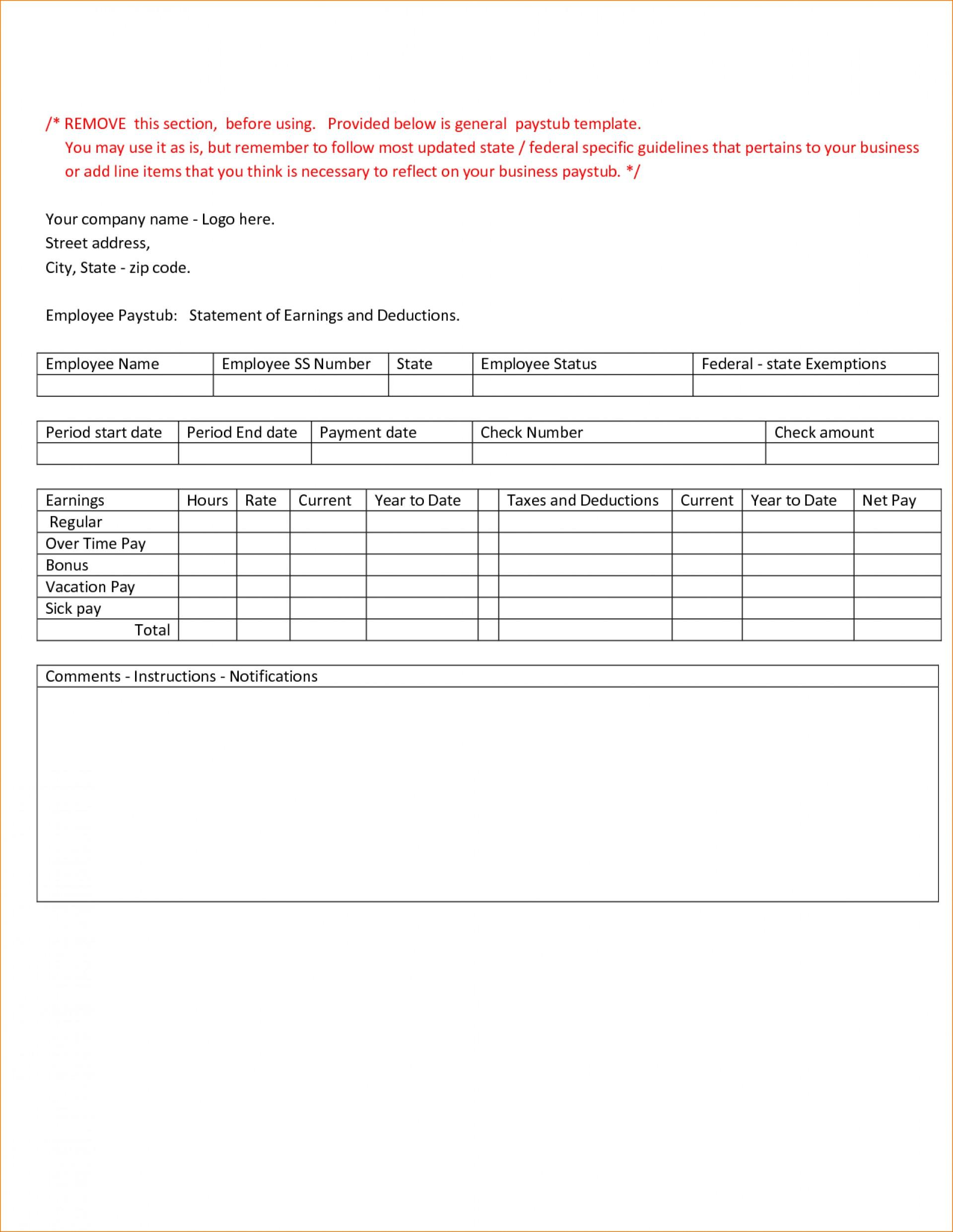 019 Printable Pay Stub Template Free Payroll ~ Ulyssesroom - Printable Pay Stub Template Free