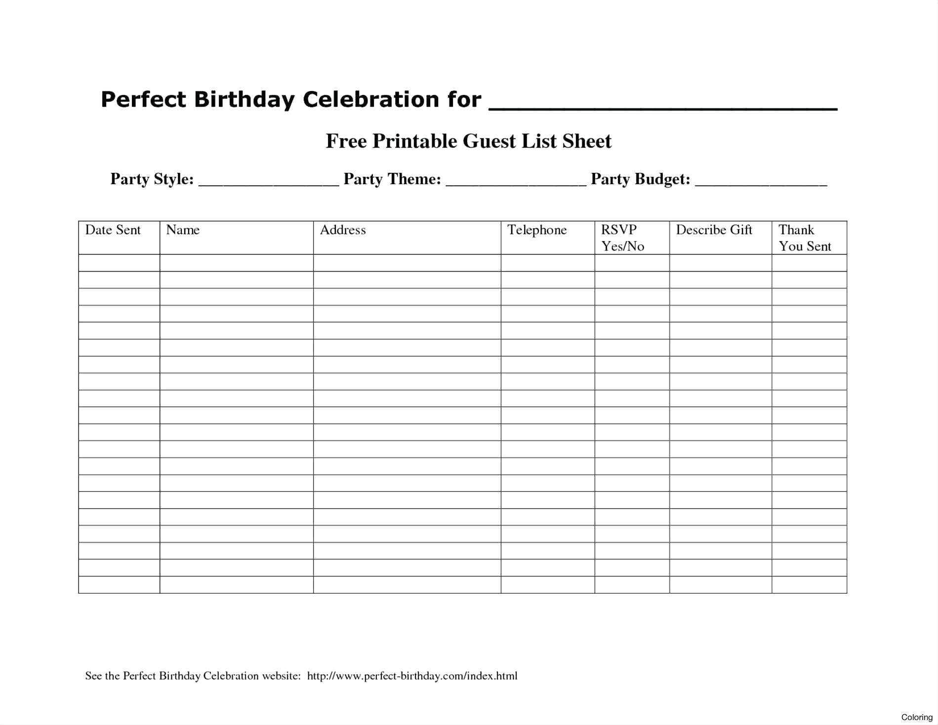 020 Template Ideas Free Wedding Guest List Guestlist Download Excel - Free Printable Birthday Guest List