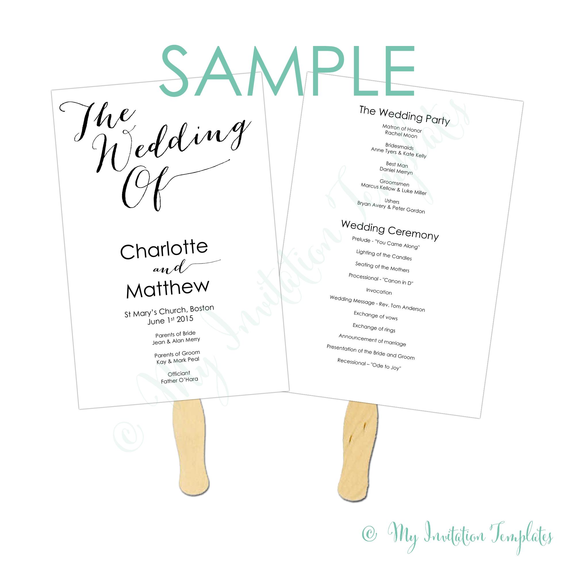 024 Diy Wedding Program Fans Against Terrific Programs How To Make - Free Printable Fan Wedding Programs