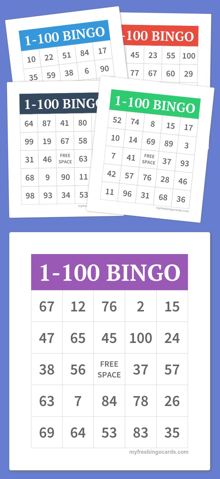 1-100 Bingo | Party Games - Free Printable Bingo Cards 1 100