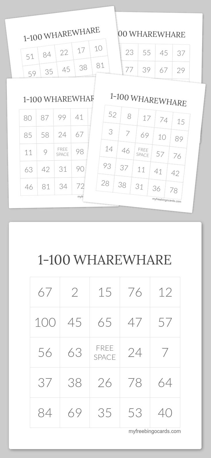 1-100 Wharewhare Bingo | Wharewhare 1-100 | Pinterest | Free - Free Printable Bingo Cards 1 100
