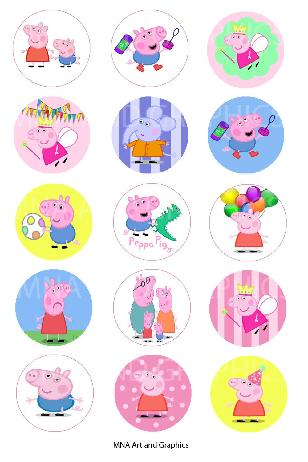 1 Inch Round Bottle Cap Images Peppa Pig - Images Collage Sheet 4X6 - Peppa Pig Character Free Printable Images