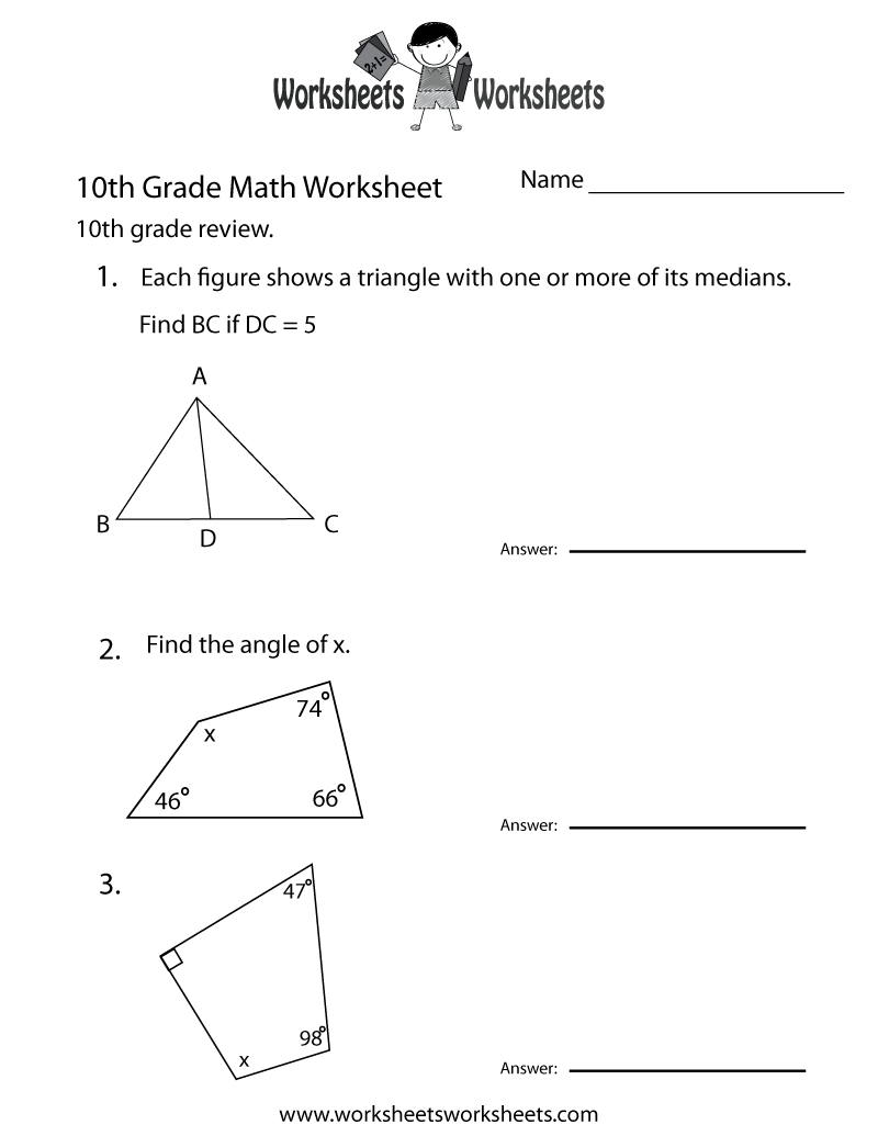 10Th Grade Math Review Worksheet Printable | Math Tutoring - Free Printable Portuguese Worksheets