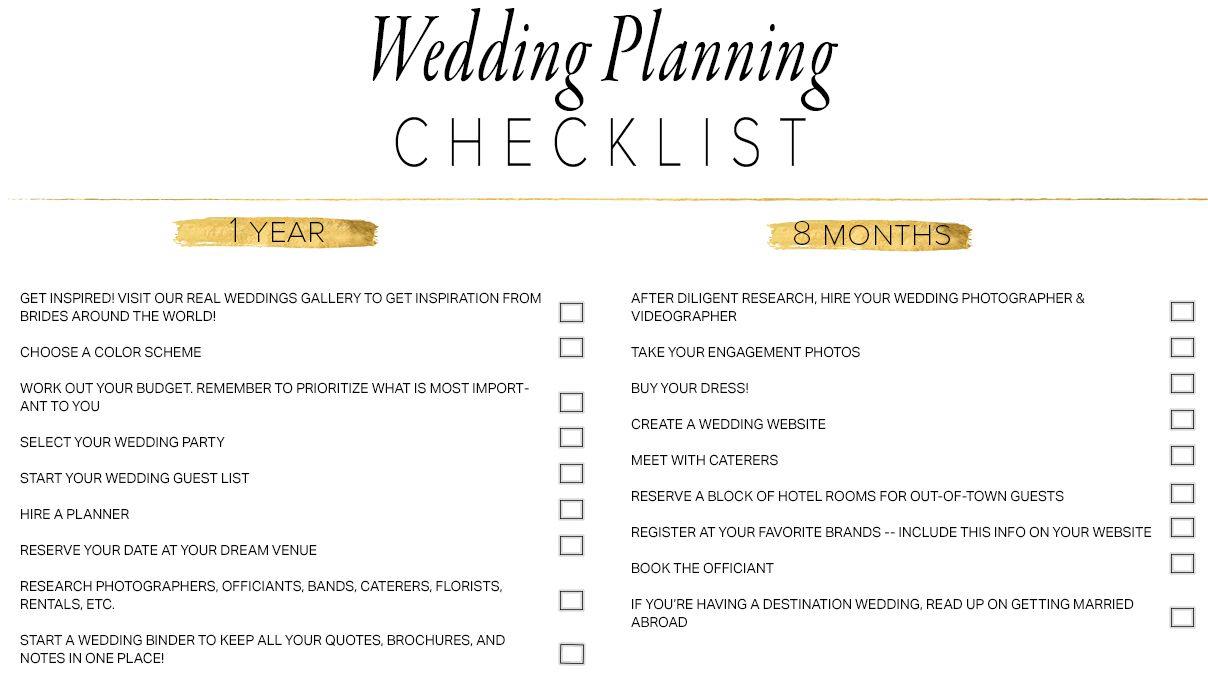 11 Free, Printable Wedding Planning Checklists - Free Printable Wedding Planner