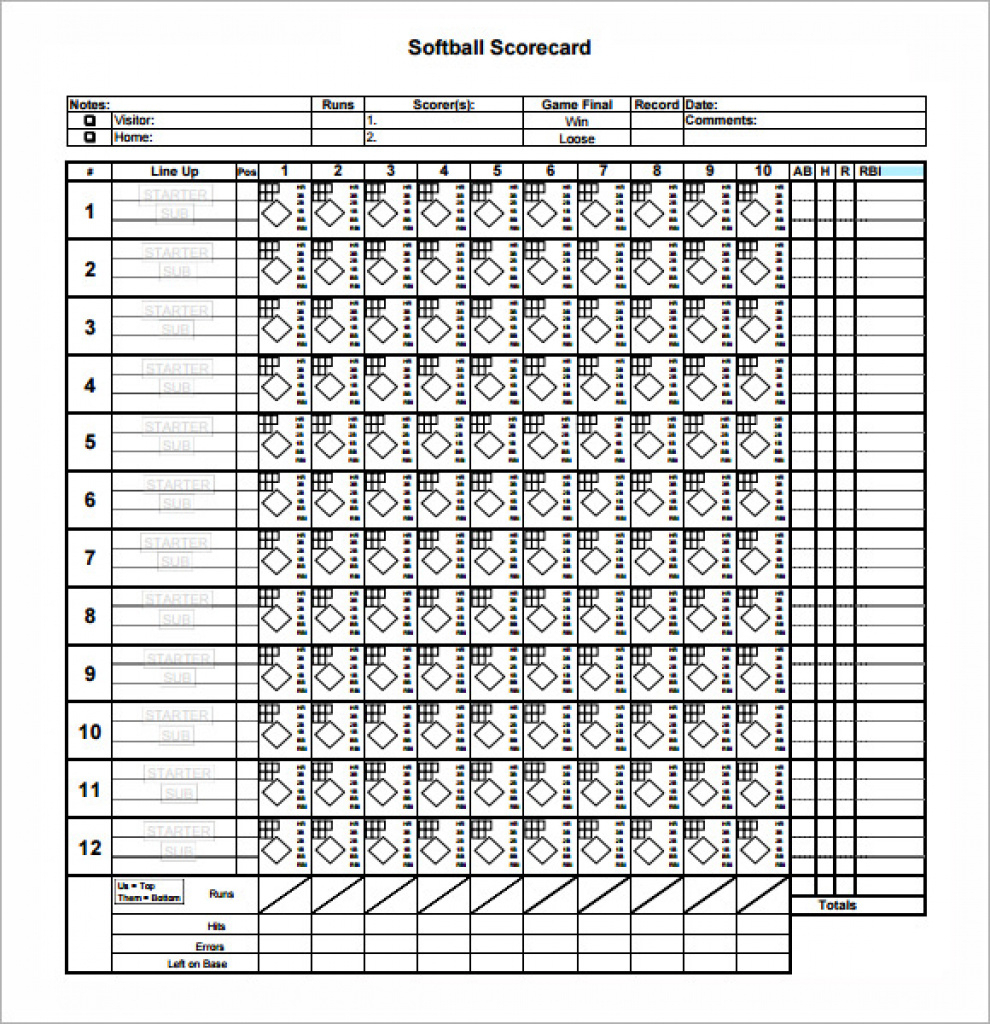 11+ Sample Softball Score Sheets – Pdf, Word | Sample Templates With - Free Printable Softball Stat Sheets