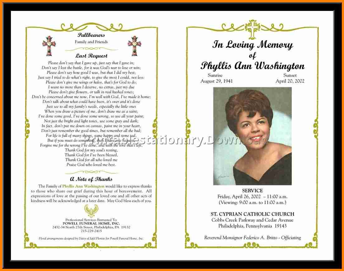 12+ Free Funeral Program Layout | Quick Askips - Free Printable Funeral Programs