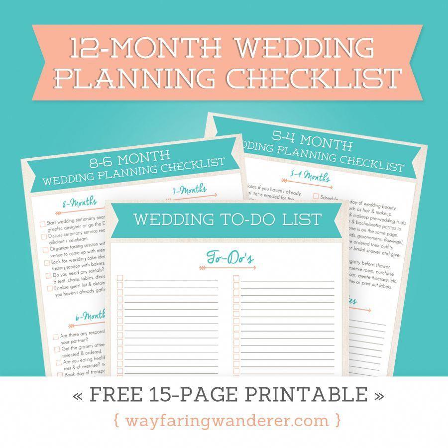12-Month Wedding Planning Checklist - Free Timeline Printable Pdf - Free Printable Wedding Planner Book Pdf