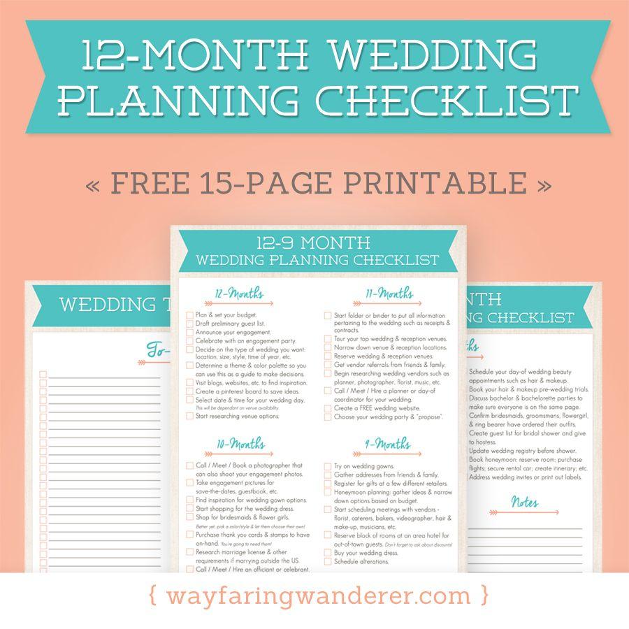 12-Month Wedding Planning Checklist - Free Timeline Printable Pdf - Free Printable Wedding Planner Pdf