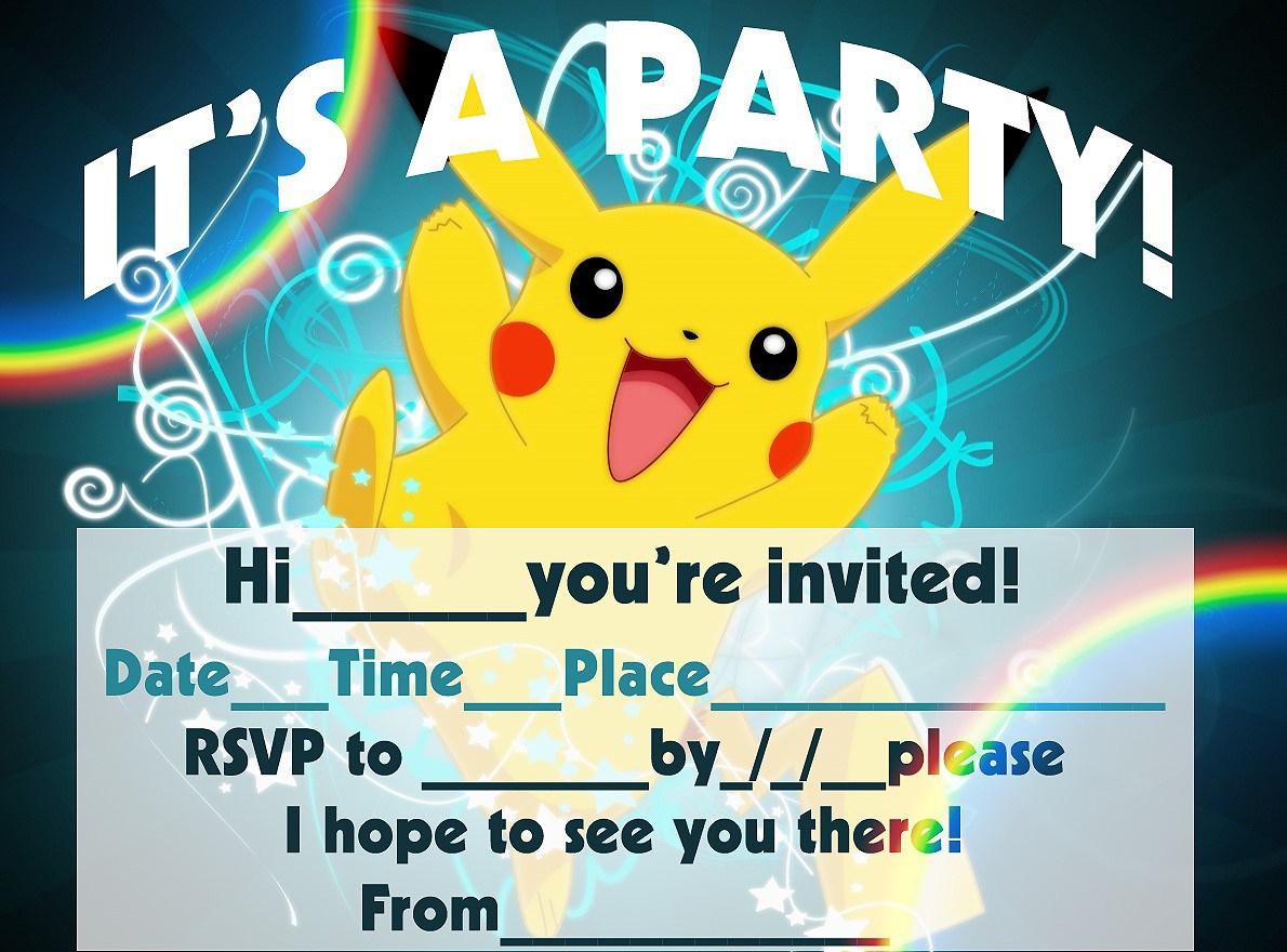 12 Superb Pokemon Birthday Invitations   Kittybabylove - Free Printable Pokemon Birthday Invitations