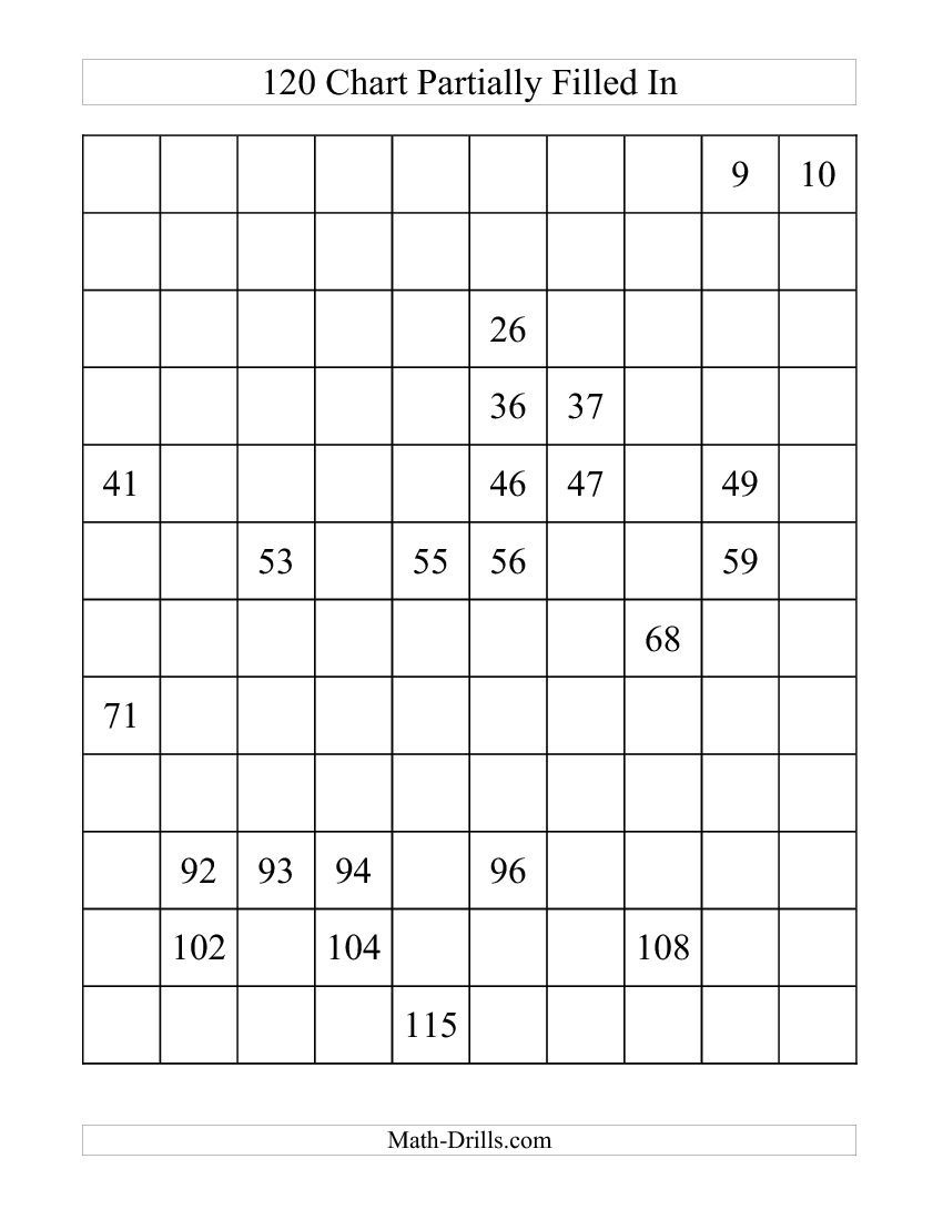 120 Chart Partially Filled (A) Math Worksheet #freemath | 1St Grade - Free Printable Hundreds Chart To 120