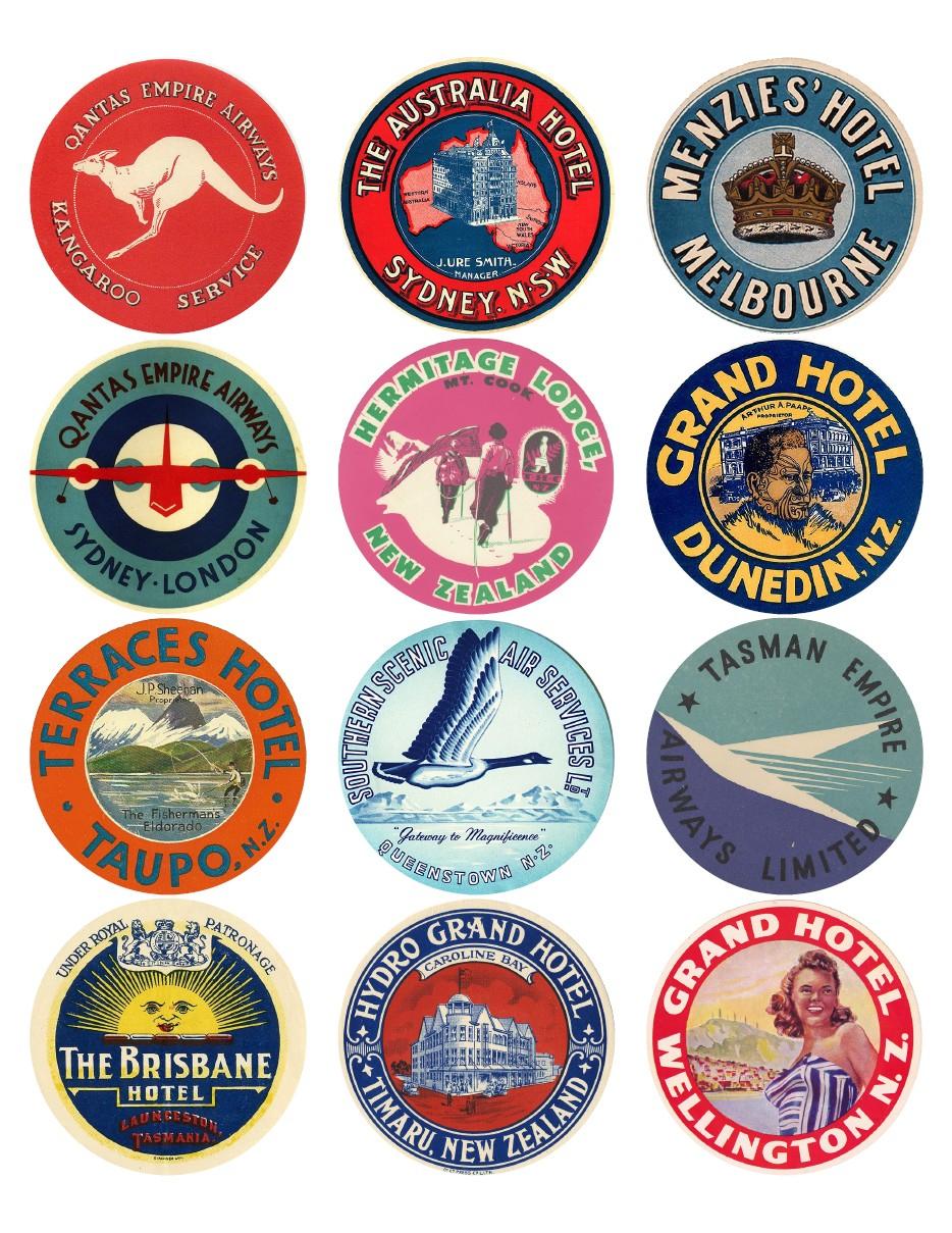 12X Vintage Travel Stickers: Oceania Mix - Vintralab - Free Printable Travel Stickers