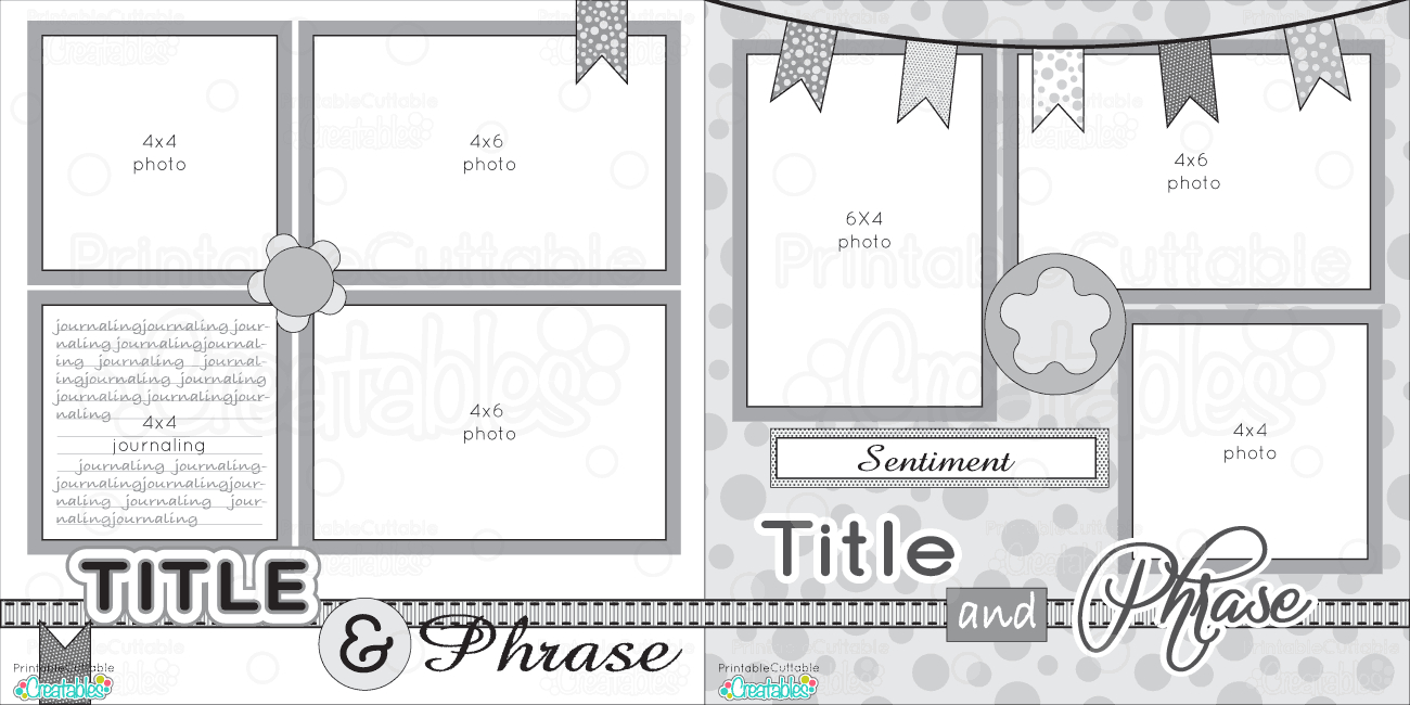 12X12 Two Page Free Printable Scrapbook Layout | Scrapbook Sketches - Free Printable Scrapbook Page Designs