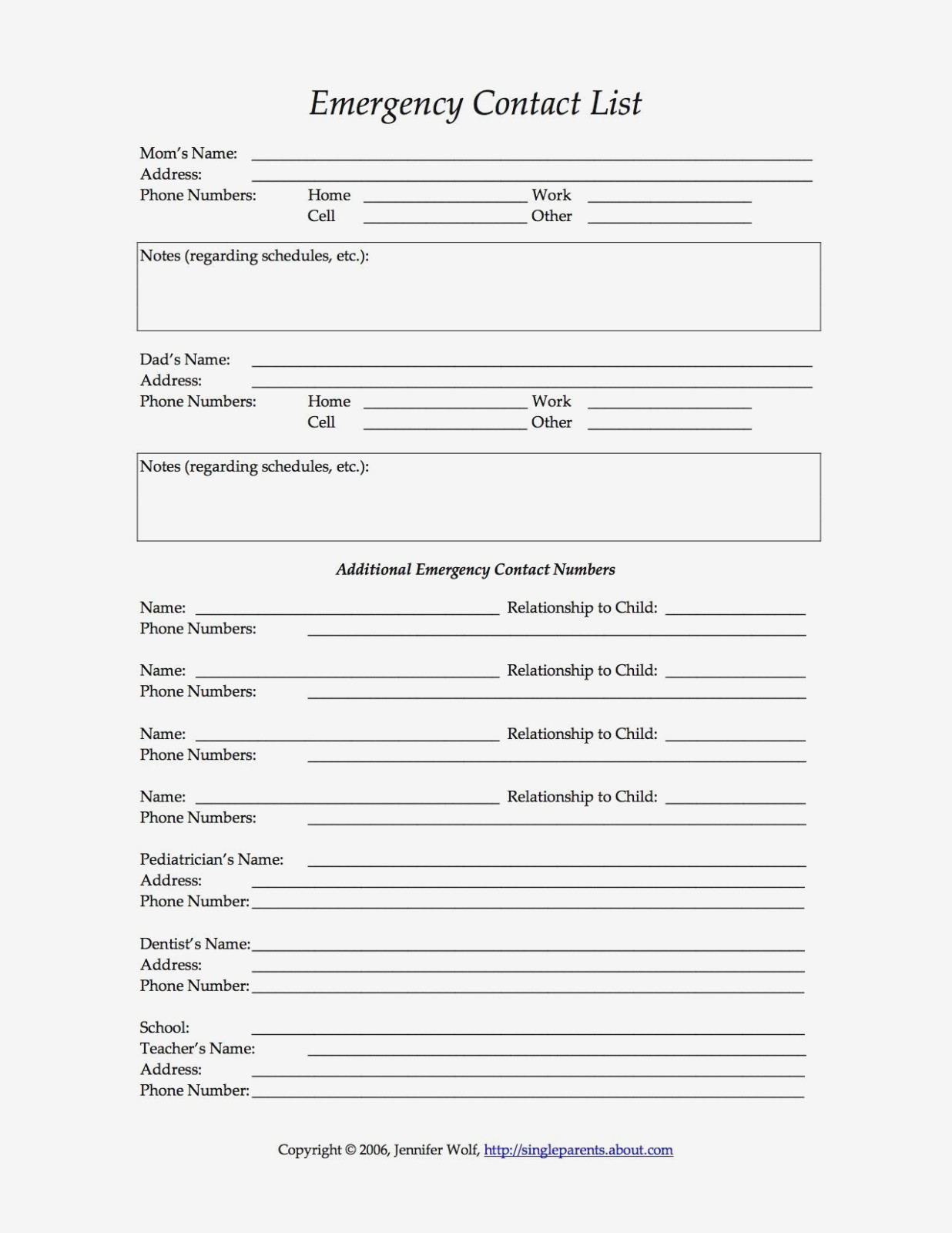 13 Free Printable Forms For Single Parents | Daycare: Recipes, Forms - Free Printable Daycare Forms