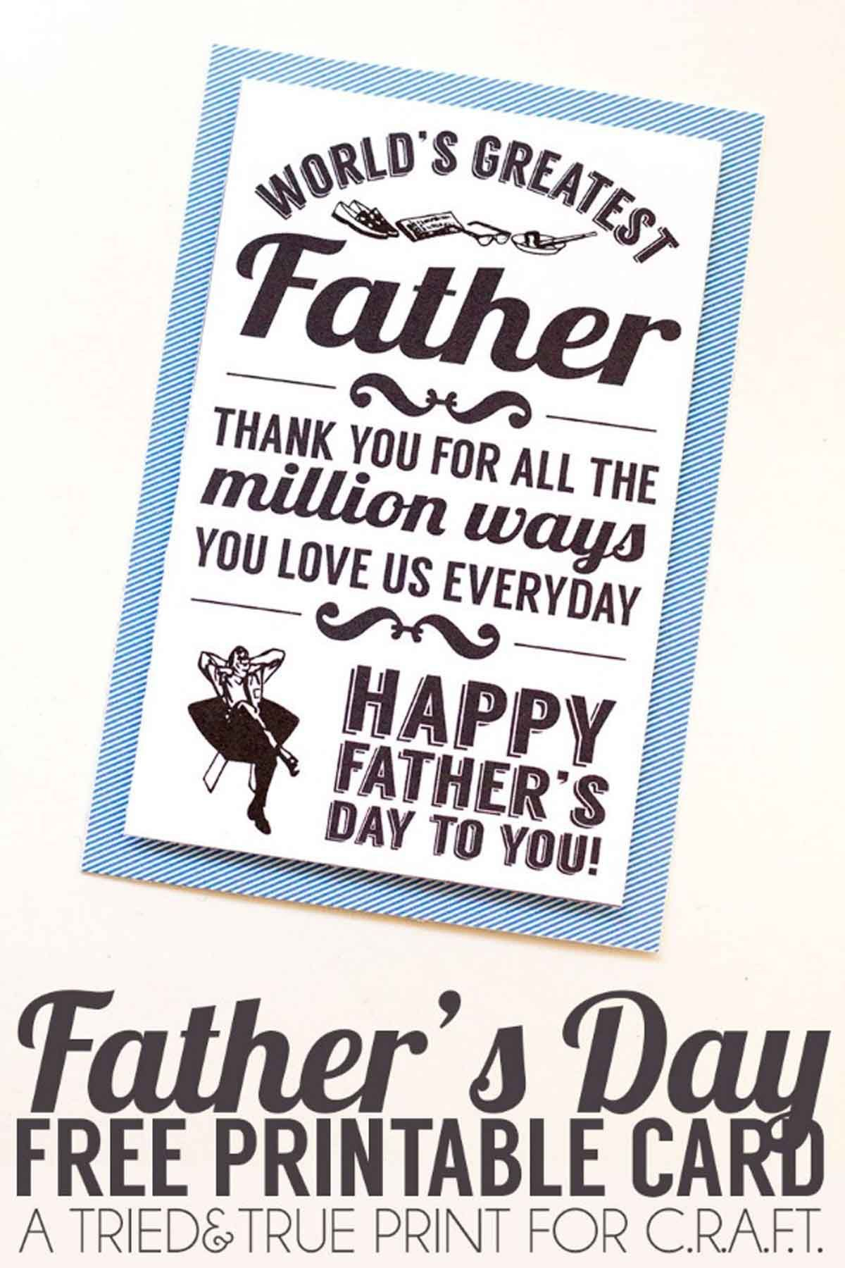 16 Fun And Free Printable Father's Day Cards | Perfect Gift - Free Printable Father's Day Card From Wife To Husband