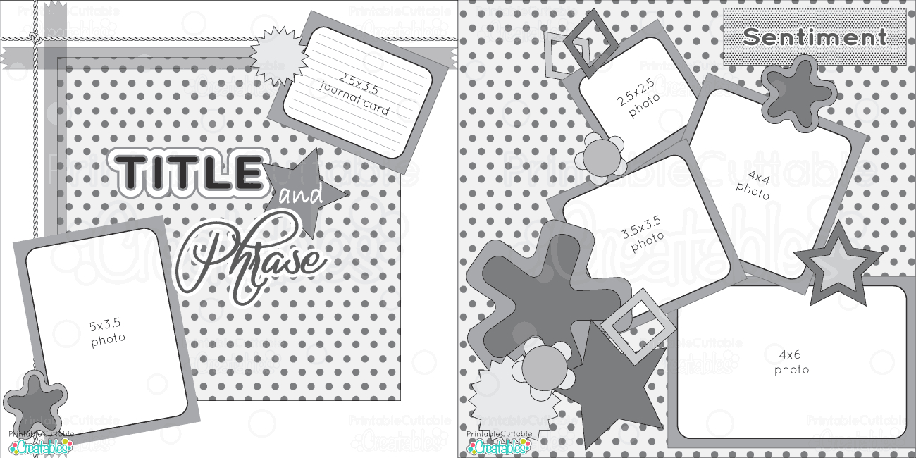 2 Page 12X12 Free Printable Scrapbook Sketch - Printable Cuttable - Free Printable Scrapbook Page Designs