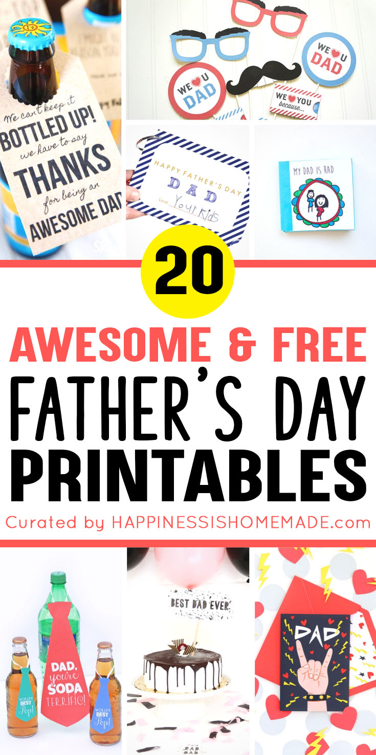 20+ Free Father's Day Printables - Happiness Is Homemade - Free Printable Fathers Day Cards For Preschoolers