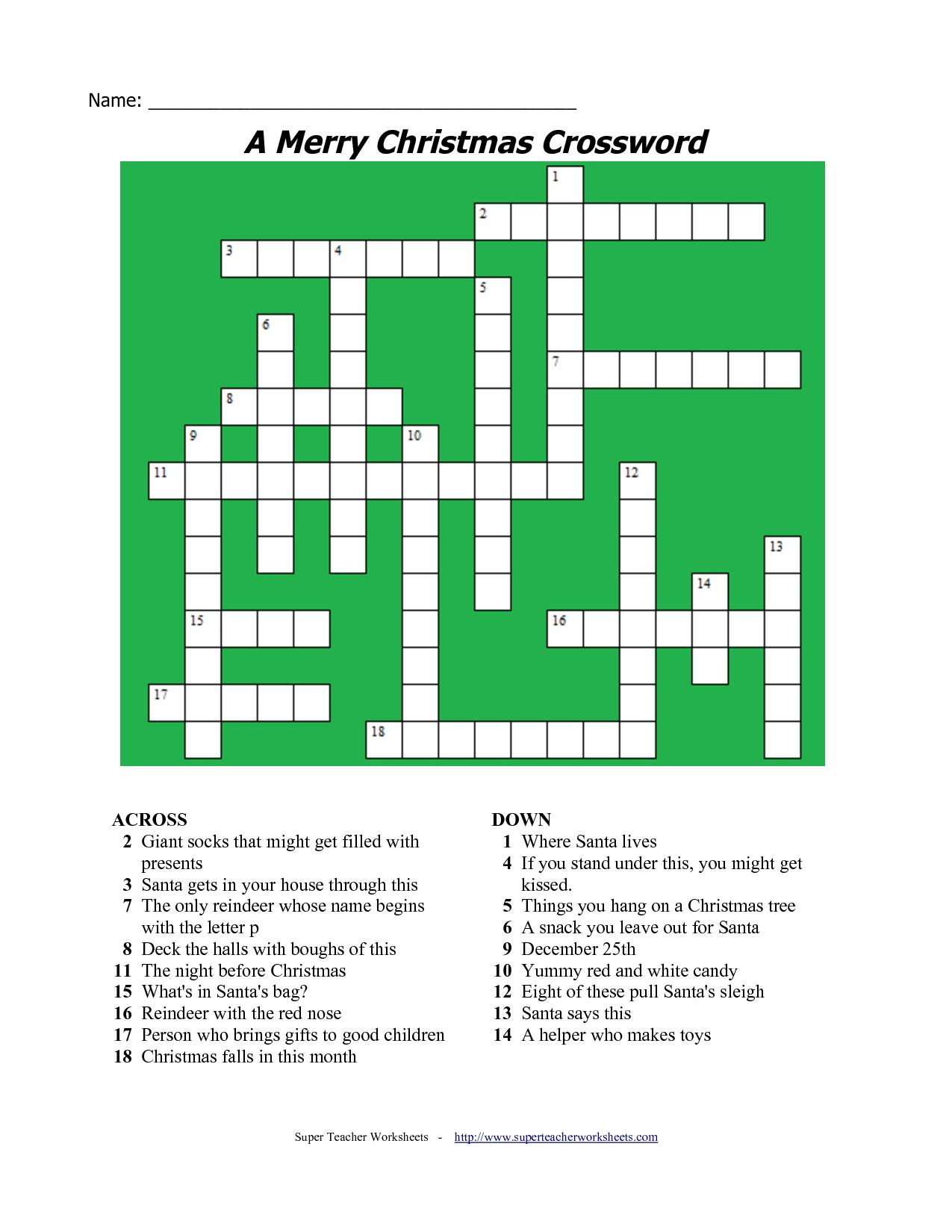 20 Fun Printable Christmas Crossword Puzzles | Kittybabylove - Free Printable Christmas Puzzle Sheets