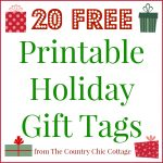 20 Printable Holiday Gift Tags (For Free!!)   The Country Chic Cottage   Free Printable Holiday Gift Labels