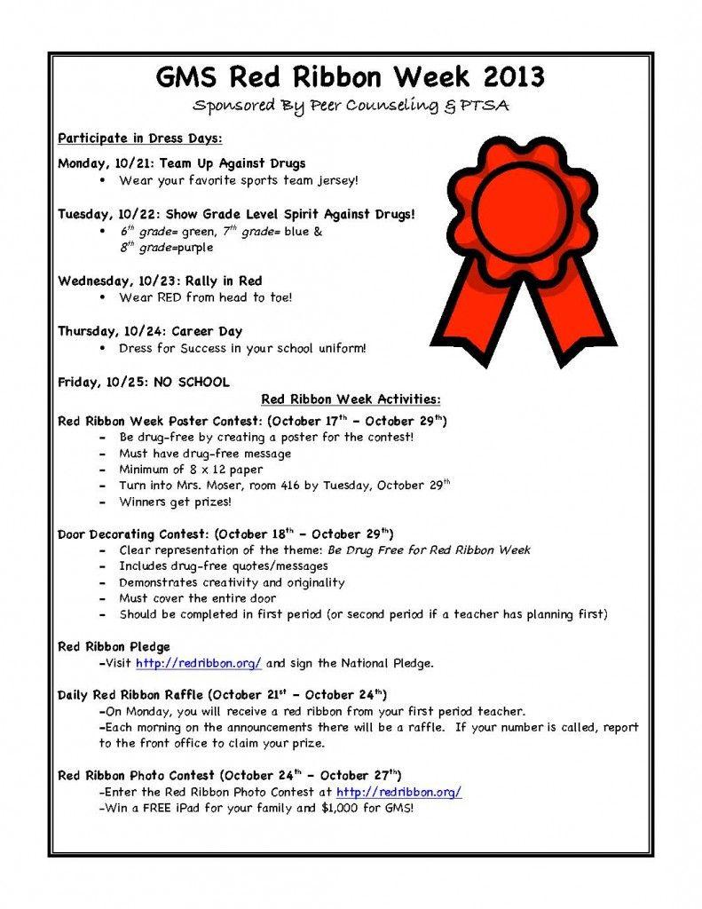 2013 Red Ribbon Week. See Flyer For Activities Sponsoredpeer - Free Printable Drug Free Pledge Cards