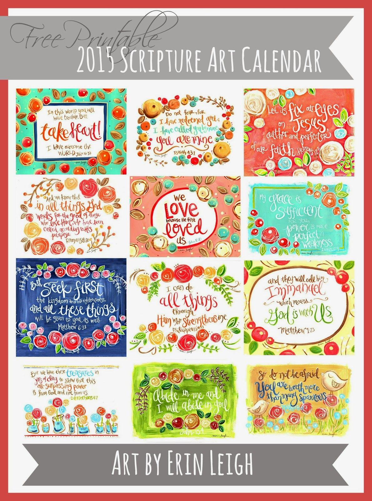 2015 Free Printable Calendar | Lolly Jane | Features | Pinterest - Free Printable Christian Art