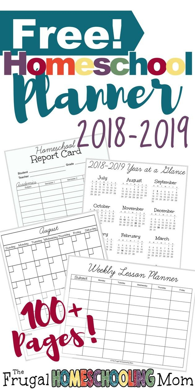 2018-2019 Free Homeschool Planner | Homeschooling | Pinterest - Free Printable Homeschool Curriculum