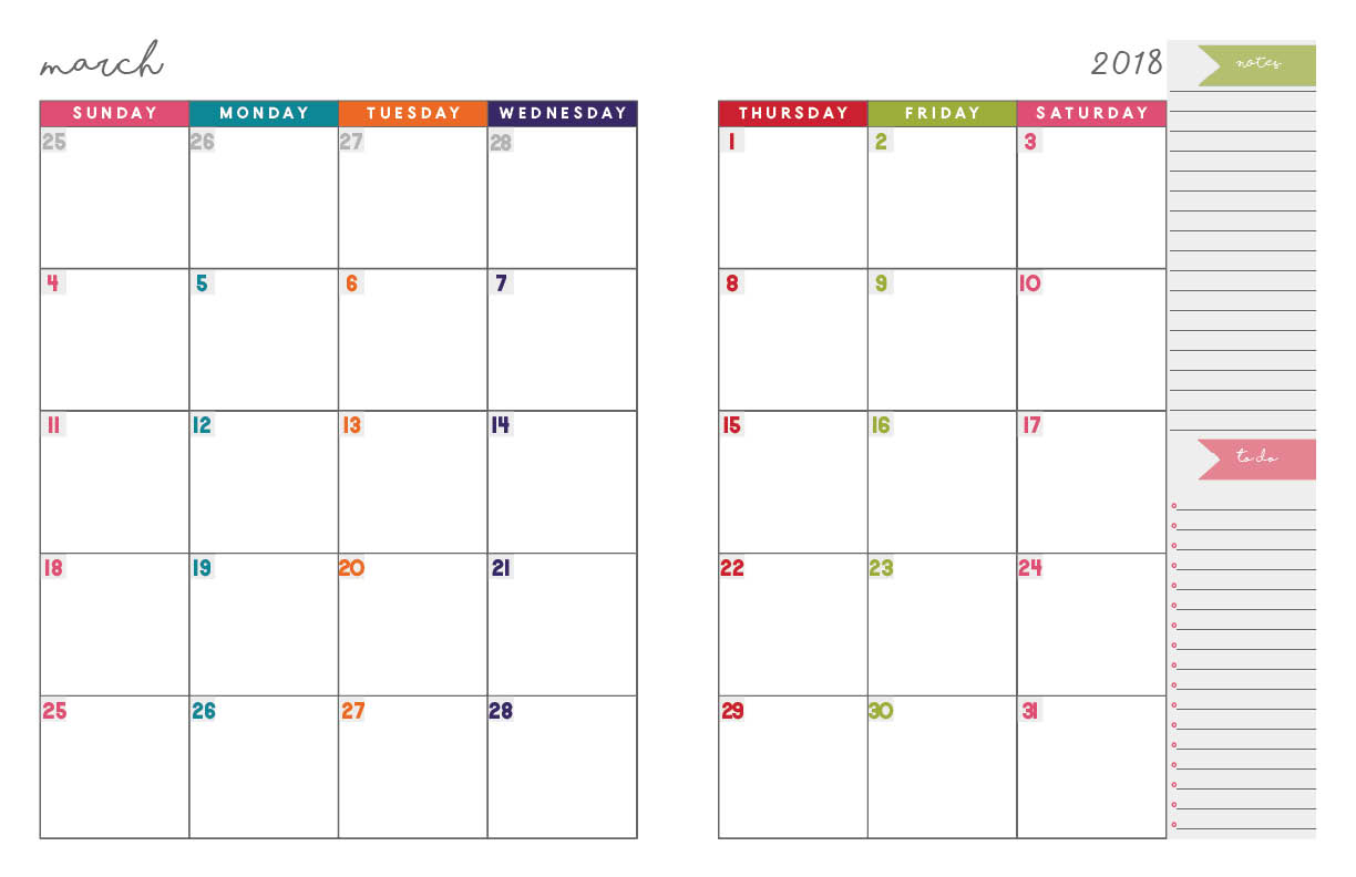 2018 Monthly Planner | Free Printable Calendar, 2-Page Spread - Free Printable Planner 2017 2018
