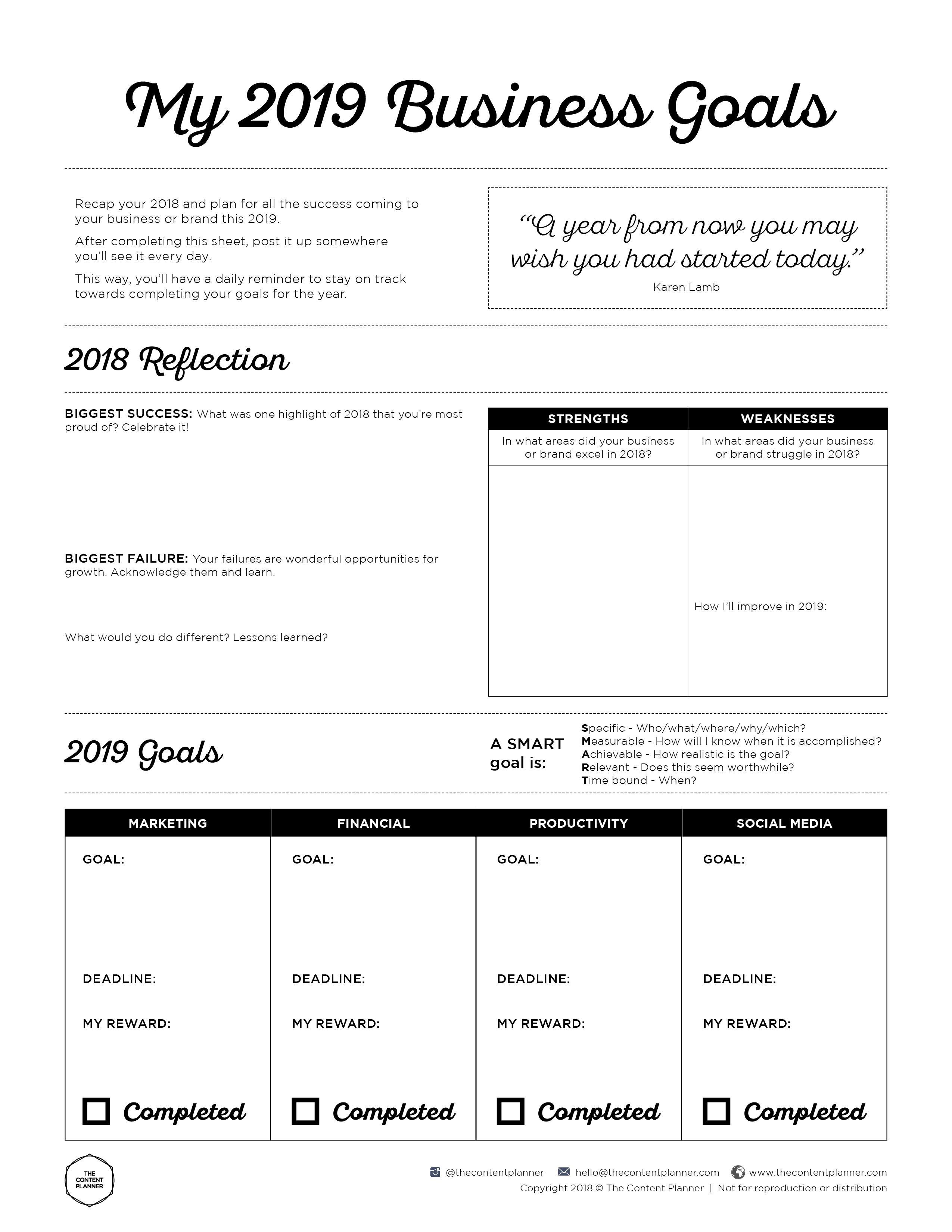 2019 Business Goal Setting Worksheet Printable - Free Pdf Download - Free Printable Economics Worksheets