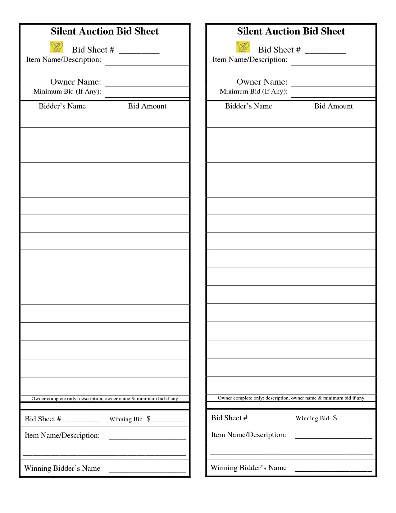 24 Awesome Sample Silent Auction Bid Sheet Images | Silent Auction - Free Printable Silent Auction Bid Sheets